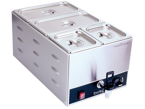 Bain Marie single with drain taps and pans Birko
