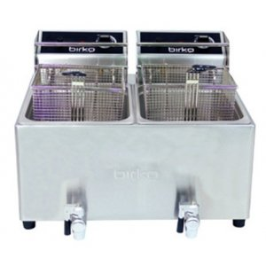 Birko Double Basket 8L Electric Fryer with Drain Taps