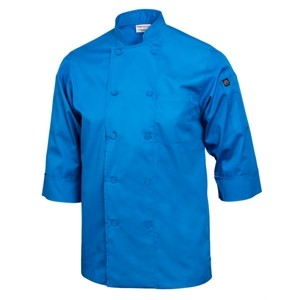 Chef Jacket Lightweight 3/4 Sleeve Blue Extra Large