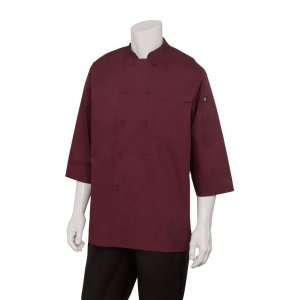 Chef Jacket Lightweight 3/4 Sleeve Merlot Medium