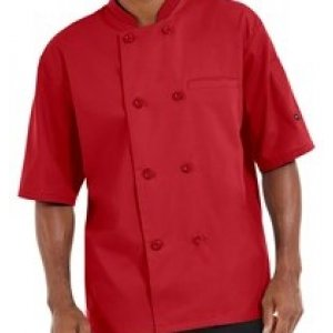 Chef Jacket Lightweight 3/4 Sleeve Red Small