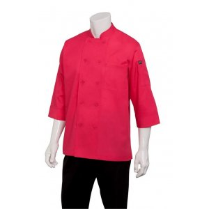 Chef Jacket Lightweight 3/4 Sleeve Berry - Large