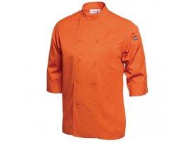 Chef Jacket Lightweight 3/4 Sleeve Orange - Large