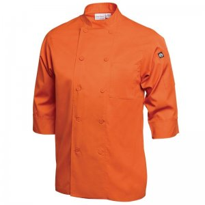 Chef Jacket Lightweight 3/4 Sleeve Orange - Large