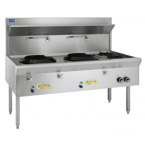 Wok 2 chimney burners with 2 open burners water cooled WF-2C2B LUUS