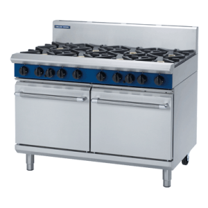 8 Burner Double Static Gas Oven 1200mm with Griddle, Burners or Combo (Blue Seal G528D)