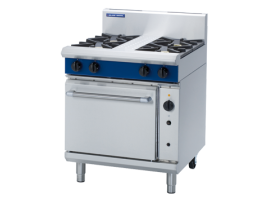 4 Burner Convection Gas Oven 750mm with Griddle, Burners or Combo (Blue Seal G54D)