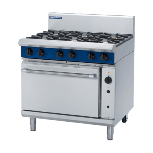 6 Burner Convection Gas Oven 900m with Griddle, Burners or Combo (Blue Seal G56D)