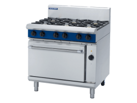6 Burner Electric Convection Oven 900mm (Blue Seal GE56D)