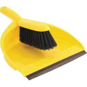 Yellow Plastic Dustpan and Broom Set