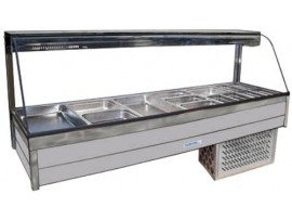 Cold Food Bar Roband CRX26RD Curved Glass 2 x 6 incl. 65 mm Pans Cross Fin Coil