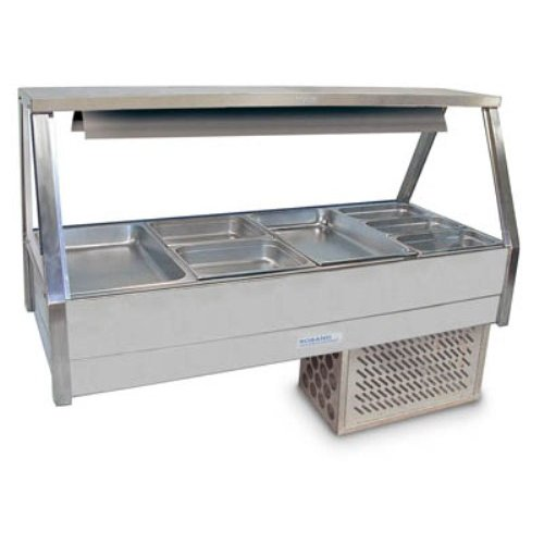 Cold Food Bar Straight Glass 2 x 4 incl. 65 mm pans Cross Fin Coil Roband
