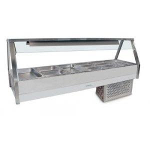 Cold Food Bar Straight Glass 2 x 6 incl. 65 mm pans Cross Fin Coil Roband