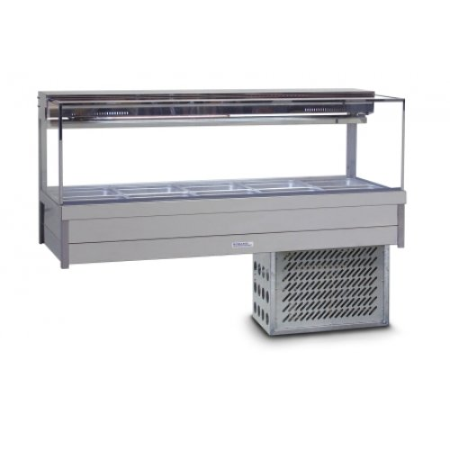 Cold Food Display Bar Square Glass 2 x 6 incl 65 mm pans Cross Fin Coil Roband SRX26RD