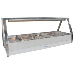Hot Food Bar Straight Glass 2 x 5 incl. 65 mm Pans & Roller Doors Roband