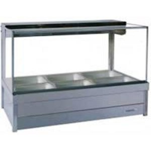 Hot Food Display Bar Square Glass 2 x 3 incl. 65mm Dishes & Roller Doors Roband S23RD