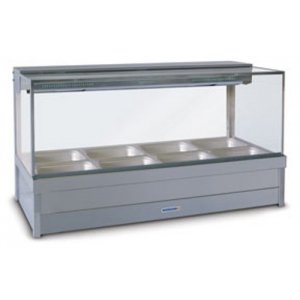 Hot Food Display Bar Square Glass 2 x 4 incl. 65mm Dishes & Roller Doors Roband S24RD