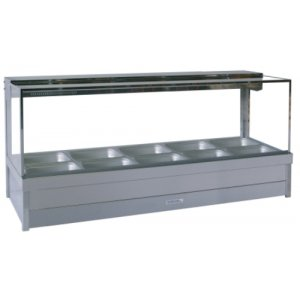 Hot Food Display Bar Square Glass 2 x 5 incl. 65mm Dishes & Roller Doors Roband S25RD