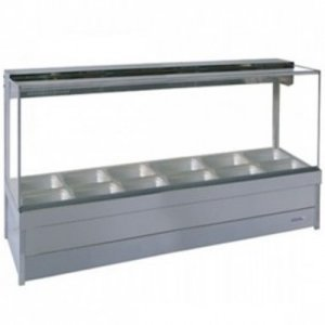 Hot Food Display Bar Square Glass 2 x 6 incl. 65mm Dishes & Roller Doors Roband S26RD