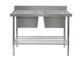 SS06.1200 Double Sink Bench Stainless Steel 600 Series Simply Stainless
