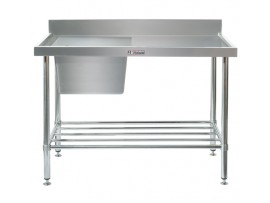 SS05.1800LB Single Stainless Steel Sink Bench with Splashback and Leg Brace 600 series Simply Stainless