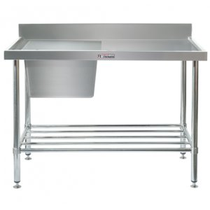 SS05.1200 Single Stainless Steel Sink Bench with Splashback 600 series Simply Stainless