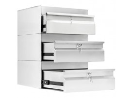 Three Stainless Steel Drawers with lock SS19.0300 Simply Stainless