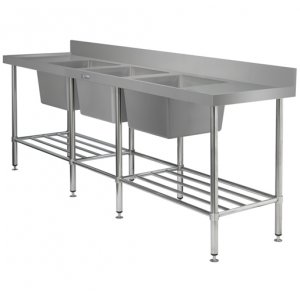 700 Series Stainless Steel Triple Bowl Sink Bench Simply Stainless