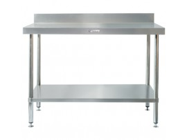 SS02.1200LB Stainless Steel 600 Series Work Bench with Splashback and Leg Brace Simply Stainless