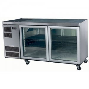 2 Glass Door Stainless Steel Under Counter Chiller Deeper Model CL400 Skope