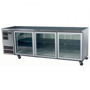 3 Glass Door Stainless Steel Under Counter Chiller Deeper Model CL600 Skope