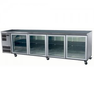 4 Glass Door Stainless Steel Under Counter Chiller Deeper Model CL800 Skope