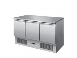 BE1360 Economy Stainless Steel 3 Solid Door Bench Fridge Snowman