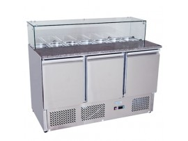 BE1365 Stainless Steel 3 Solid Doors Preparation Fridge with Glass Cover Salad Bar
