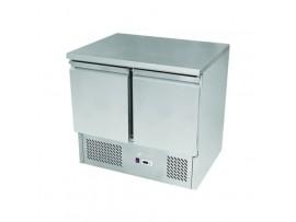 BE900 Economy Stainless Steel 2 Solid Door Bench Fridge Snowman