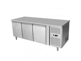 BSH1795 3 Solid Doors Stainless Steel Bench Fridge Snowman