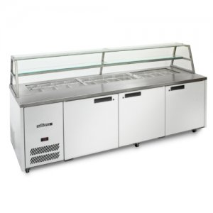 Sandwich Preparation Counter Three Door with Canopy Blown Air Well Williams HJ3SCBA